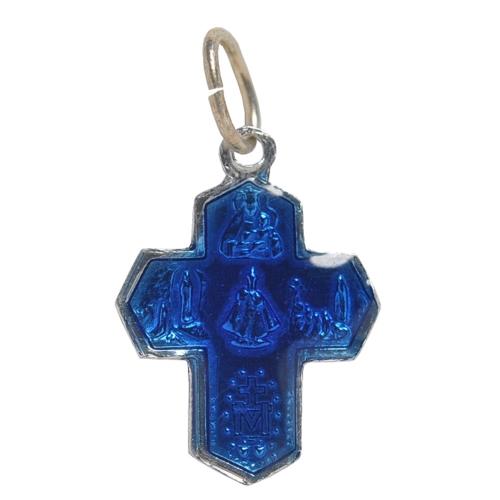 画像2: ルルドの泉奇跡の聖水プチクロスアルミ製チャーム(ブルー)【メール便可】