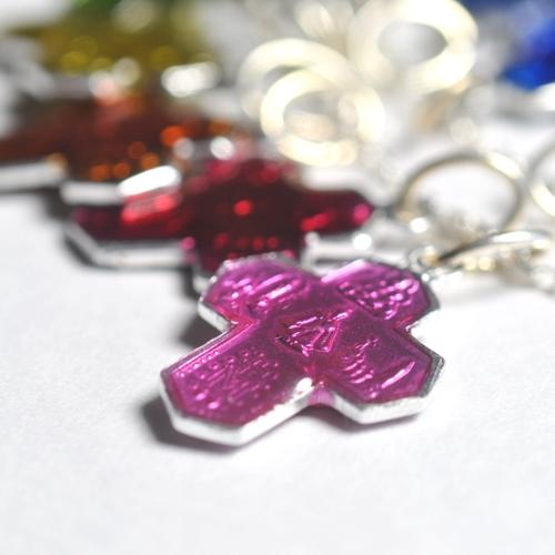 画像3: ルルドの泉奇跡の聖水プチクロスアルミ製チャーム(ピンク)【メール便可】