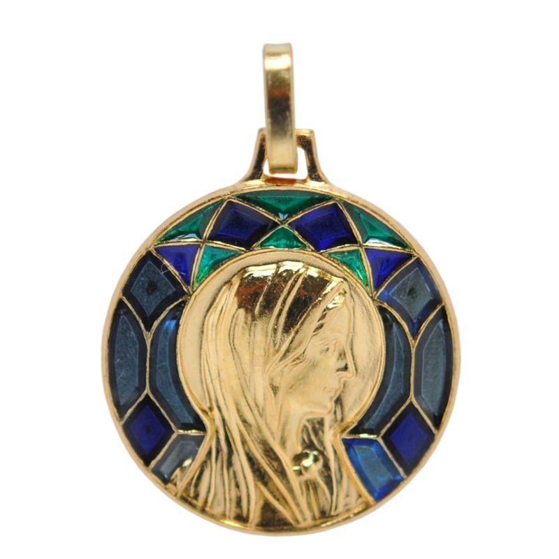 画像1: マドレーヌ寺院 聖女マグダラのマリアゴールドステンドグラスチャーム(ブルー)【メール便可】