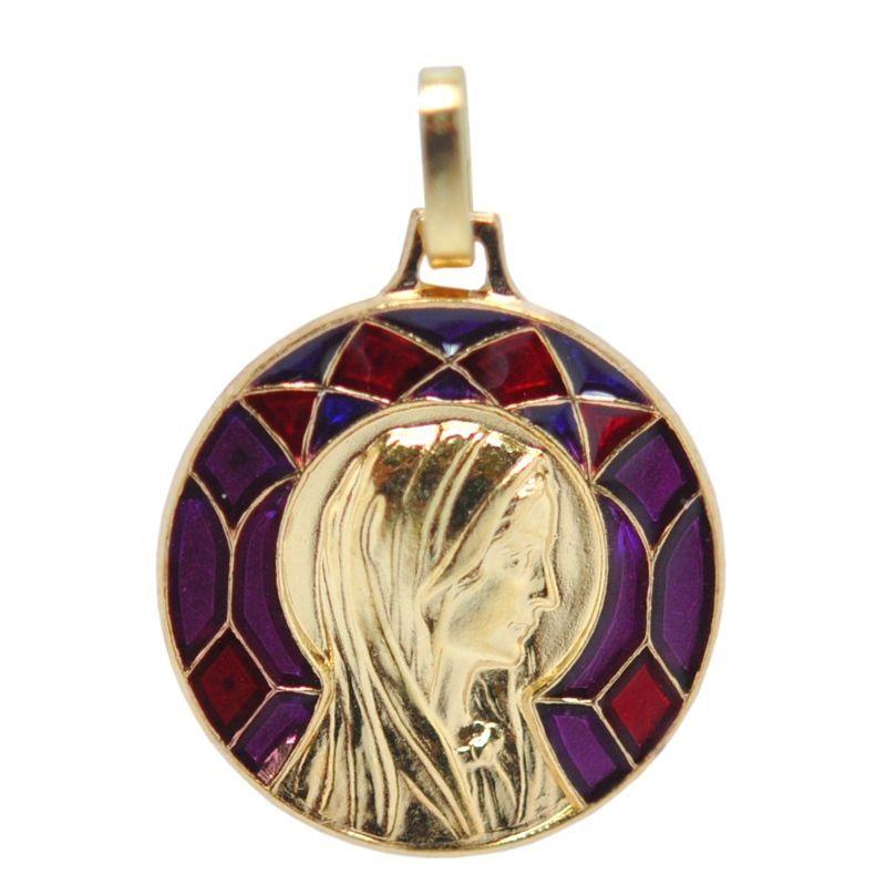 画像1: マドレーヌ寺院 聖女マグダラのマリアゴールドステンドグラスチャーム(赤)【メール便可】