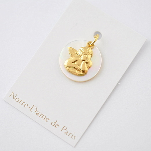 画像3: ノートルダム大聖堂ゴールド×マザーオブパール天使のチャーム【メール便可】