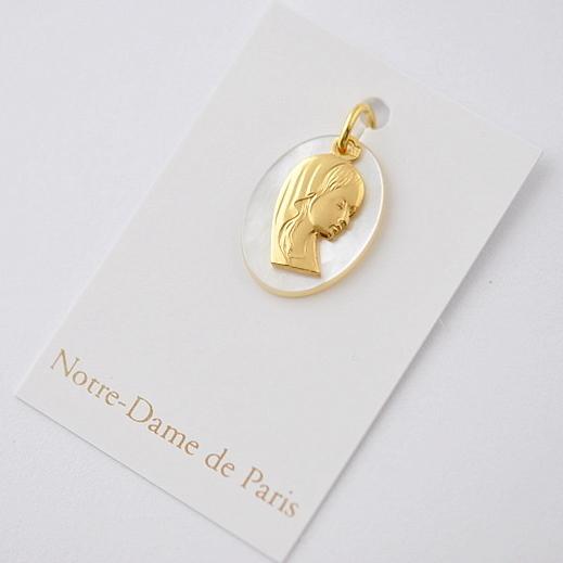 画像3: ノートルダム大聖堂ゴールド×マザーオブパール聖母マリアのチャーム【メール便可】